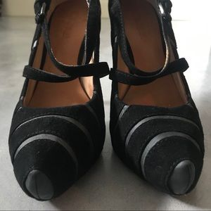 LAMB stunning Black Suede and Leather heels sz 7M